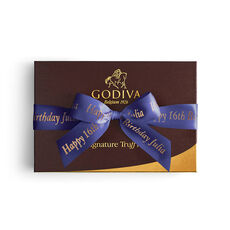 Signature Chocolate Truffle Gift Box, Personalized Purple Ribbon, 24 pc.