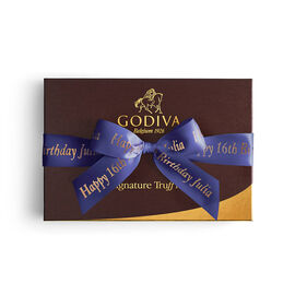 Signature Chocolate Truffle Gift Box, Personalized Purple Ribbon, 24 pc.