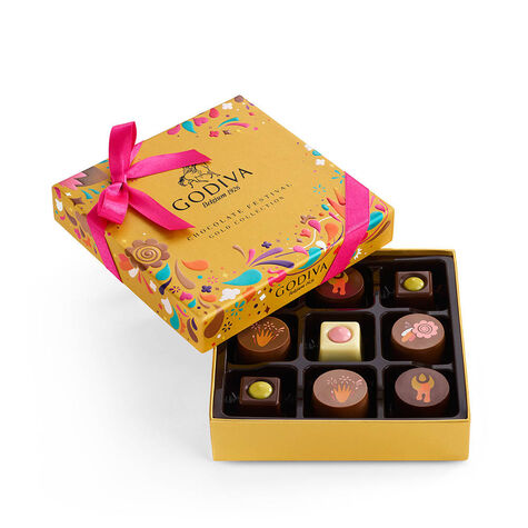Chocolate Festival Gift Box, 9 pc & Assorted Chocolate Gold Gift Box, Gold Ribbon, 8 pc.