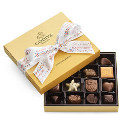 Assorted Chocolate Gold Gift Box, Happy Birthday Ribbon, 19 pc.