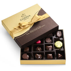 Dark Chocolate Gift Box, Gold Ribbon, 15 pc.