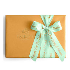 Assorted Chocolate Gold Gift Box, Personalized Sage Ribbon, 36 pc.