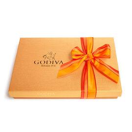 Assorted Chocolate Gold Gift Box, Orange Stripe Ribbon, 36 pc.