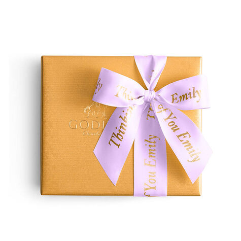 Assorted Chocolate Gold Gift Box, Personalized Light Orchid Ribbon, 19 pc.