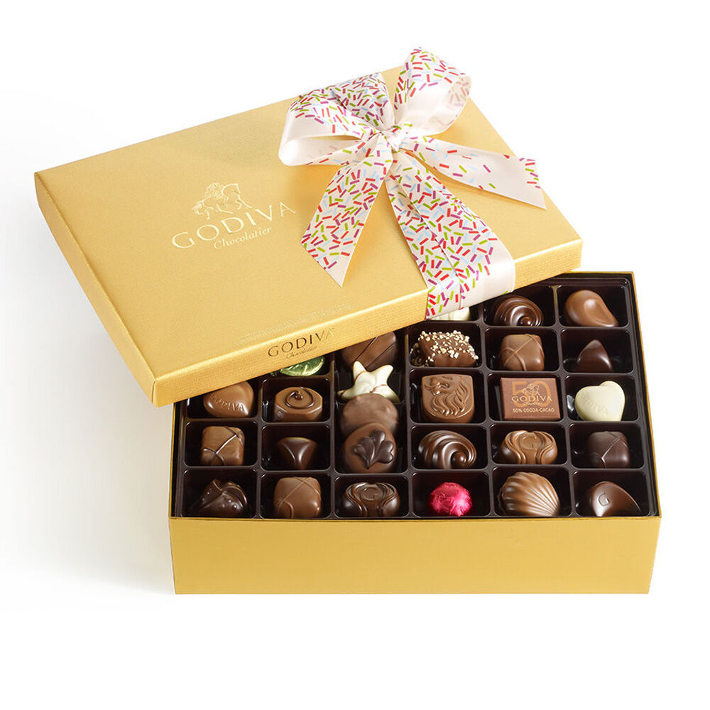 Assorted Chocolate Gold Gift Box, Celebration Ribbon, 70 pc.