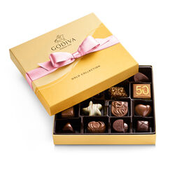 Assorted Chocolate Gold Gift Box, Pink Ribbon, 19 pc.