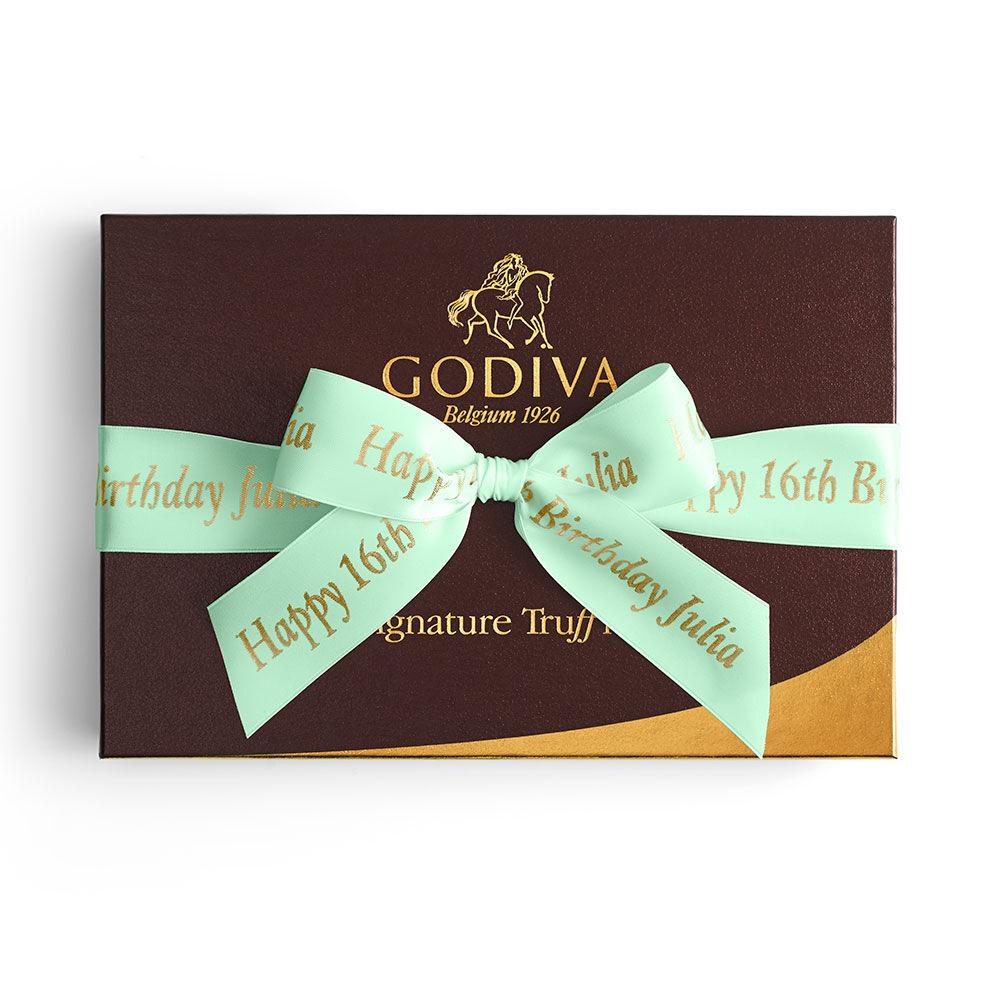 Signature Truffles Gift Box, Personalized Sage Ribbon, 24 pc.