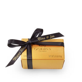 Assorted Chocolate Gold Favor, Personalized Black Ribbon, 2 pc.