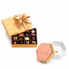 Loved Trinket Box & Assorted Chocolate Gold Gift Box, 19 pc.