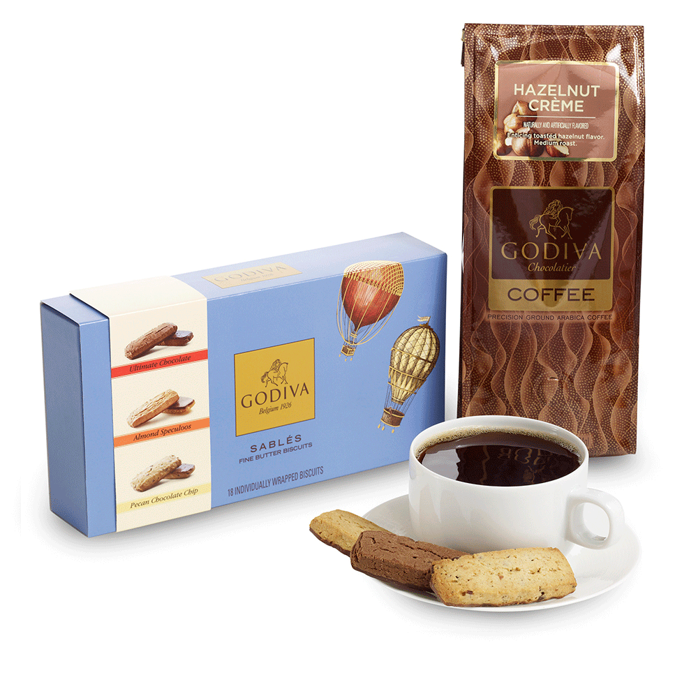 18 pc. Assorted Sablés Gift Box and Hazelnut Coffee Gift Set