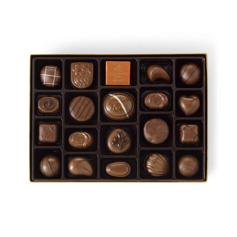 Milk Chocolate Assortment Gift Box, Orange & Brown Ribbon, 22 pc.