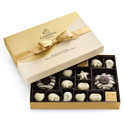 White Chocolate Assortment Gift Box, Gold Ribbon, 22 pc.