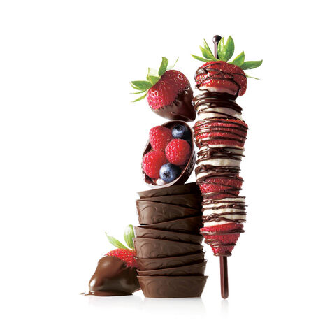 Strawberry & Banana Kabobs with Chocolate Drizzle