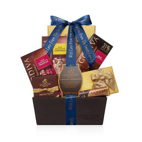 Chocolate Celebration Gift Basket, Personalized Navy Ribbon