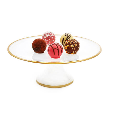 Dessert Pedestal with Gold Trim