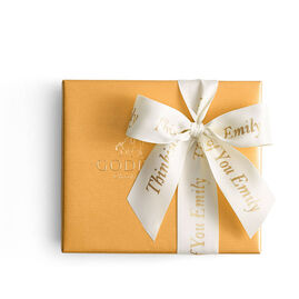 Assorted Chocolate Gold Gift Box, Personalized Ivory Ribbon, 19 pc.