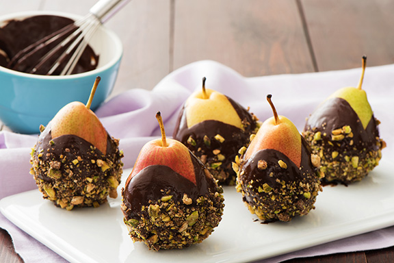 chocolate dipped holiday pears - Easy Christmas Desserts Recipes With Pictures