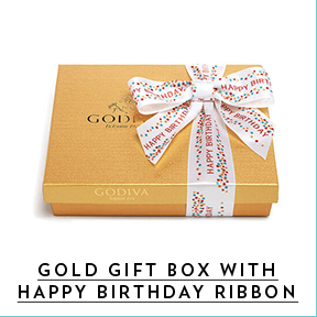 Gold gift box with happy birthday ribbons