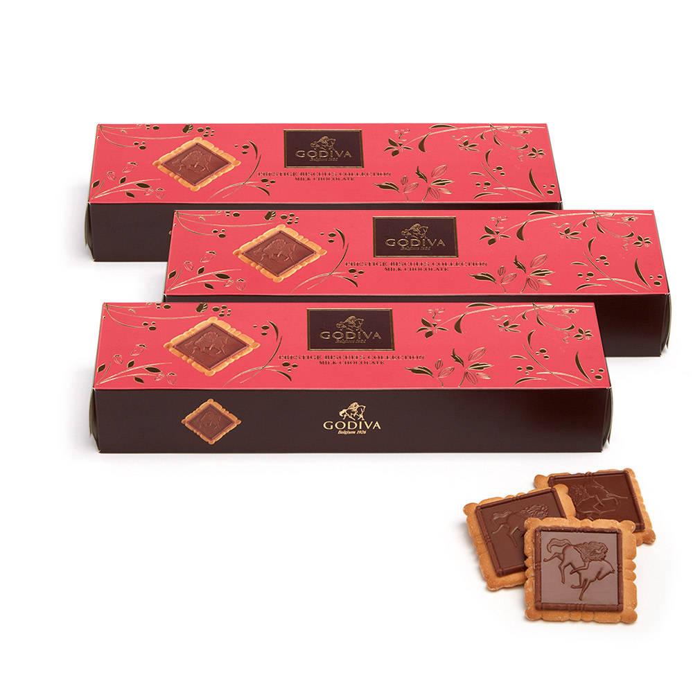 Godiva Signature Milk Chocolate Biscuits, Set of 3, 12 pc. each