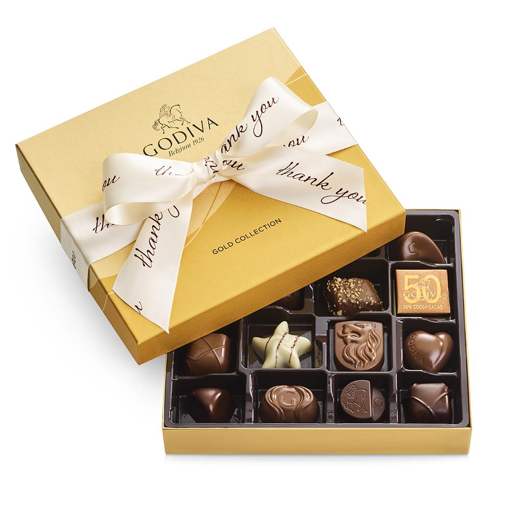 Godiva Assorted Chocolate Gold Gift Box, Thank You Ribbon, 19 pc.