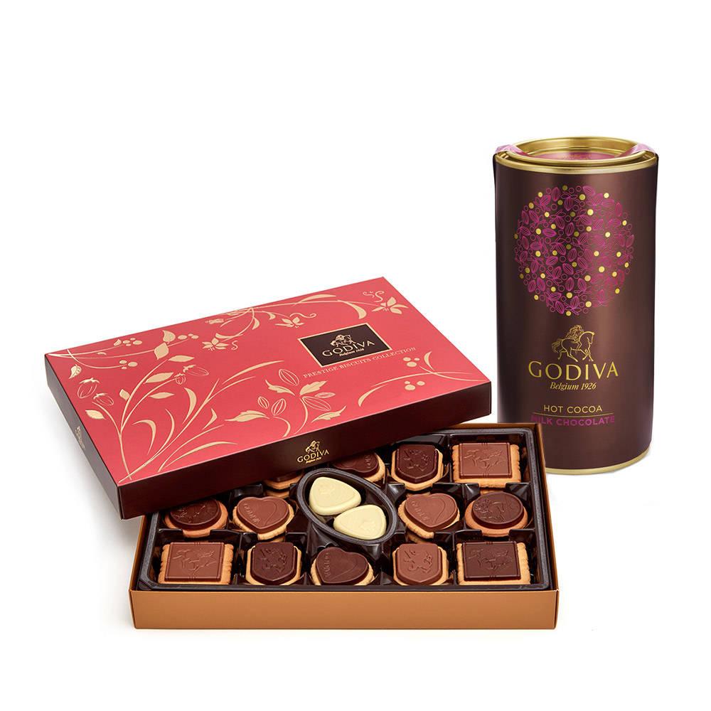 Godiva Milk Chocolate Hot Cocoa Tin & Chocolate Biscuit Gift Box, 32 pc.
