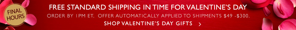 Last to Shop for Valentine's Day Gifts with Free Standard Shipping
