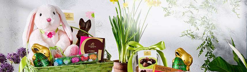 Easter Gift Basket with plush bunny