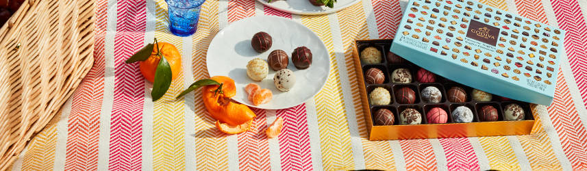 Patisserie truffle gift box on picnic blancket next to plate of chocolates